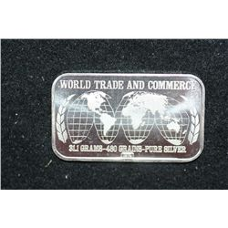 1974 United States Silver Corp. Silver Ingot; World Trade & Commerce; 999+ Fine Silver 1 Oz.