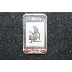"National ""Virgo"" Silver Ingot; 999+ Fine Silver 1 Oz."