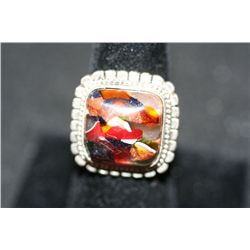 Sterling Silver Ring W/Square Marbled Gemstone