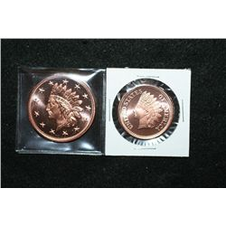 Copper Round; .999 Fine Copper 1/2 Oz. & Copper Round; .999 Fine Copper 1 Oz.; Lot of 2
