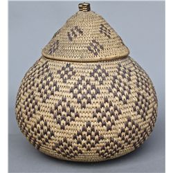 Native American Indian Old Woven Basket, woven lid. …