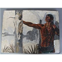 Native American Indian,  Est. 1920's.  Oil Painting with cracking…