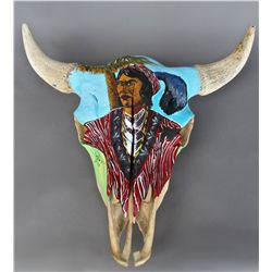 Seminole Indian Hand Painted Buffalo Skull …