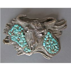 Turquoise Chips Bull Sterling Silver Belt Buckle …