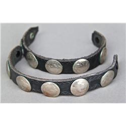 Set of (2) Silver Buffalo Nickel Concho Leather Bracelet…