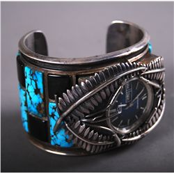 Native American Indian Sterling Silver Turquoise Watch Bracelet, …