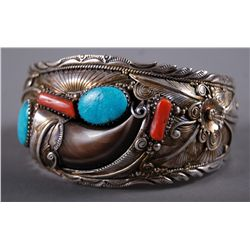 Native American Indian Sterling Silver Bangle  with Bear Claw …
