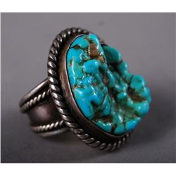 Turquoise Sterling Silver Ring with Roping [Height/Length (in)= 1…