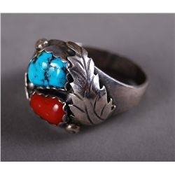 Turquoise Sterling Silver Ring with Red Stone…