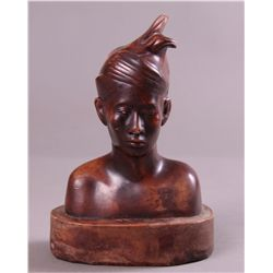 Plaster African Bust with Brown Patina, Vintage …