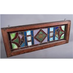Mid 19th Century Lead and Stain Glass Window  (three small cracks…