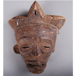 Ancient Wooden Tribal Mask, Old  (missing left ear)…