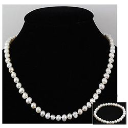 187.00 ctw Fresh Water Rice Pearl Necklace & Bracelet