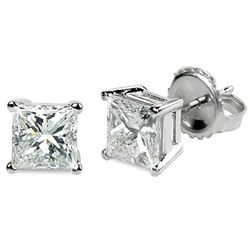 1.00 ctw Princess cut Diamond Stud Earrings G-H, VVS