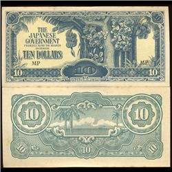 1942 Malaysia $10 Japan Occupation Crisp Unc Note (COI-3806)