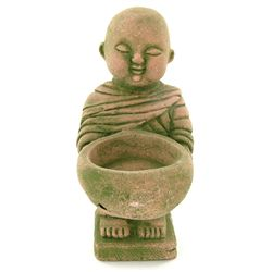Handcrafted Cast Sandstone Monk Candle Holder (CLB-1030)