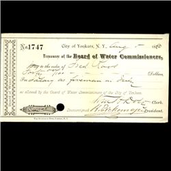 1880 Yonkers NY Water Board Bank Draft (COI-3264)