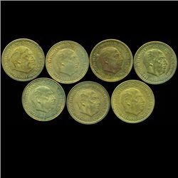 1956 Spain 1p AU/XF Errors Scarce 7pcs (COI-10309)
