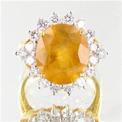 5.65ct Yellow Sapphire Diamond 18k Ring (JEW-3785)