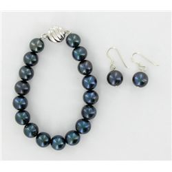 Black S. Sea Saltwater Pearl Bracelet & Earrings (JEW-1921)