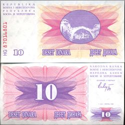 1992 Bosnia 10 Dinara Crisp Uncirculated Note (COI-3971)