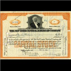 1924 NY Central Railroad Stock Certificate pre-Depression (CUR-06629)
