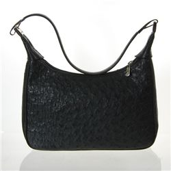 Ladies Black Ostrich Hide Skin Handbag  (ACT-022)