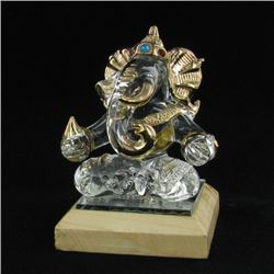 Hand Formed Glass Gilded Ganesh (CLB-489)