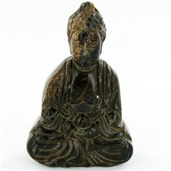 300ct Handcarved Black Jade Buddha Pendant (CLB-1071)