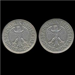 1963D/G Germany 1 Mark Hi Grade RARE 2 Pcs (COI-8160)