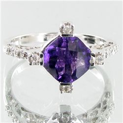 18.41twc Purple Amethyst Diamond 14k Gold Ring (JEW-3401)