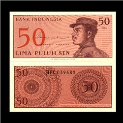 1964 Indonesia 50 Sen Note Crisp Unc (CUR-06760)