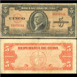 1950 Cuba 5 Peso Note Circulated (CUR-06374A)