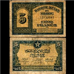 1943 Morocco 5 Franc Note Circulated (CUR-07111)