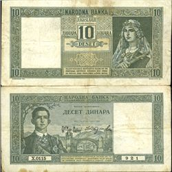 1939 Yugoslavia 10 Dinara Better Grade Note (CUR-06302)