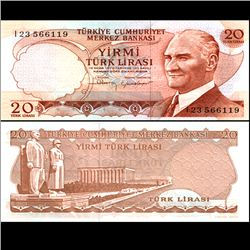 1970 Turkey 20 Lira Note Crisp Unc (CUR-06708)