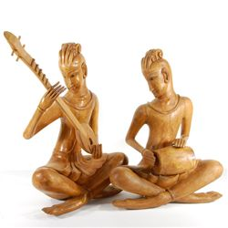 Hand Carved Teak Pair Musician Statues (CLB-221)