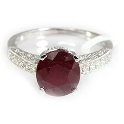 Genuine 4.66 ctw Ruby & Diamond Ring 18kt Gold-White