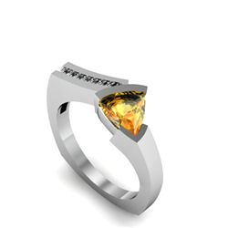 Genuine 1.20 ctw Citrine Euro Shank Diamond Ring 10k