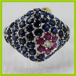 Genuine 3.78 ctw Sapphire Ruby & Diamond Ring 14KT