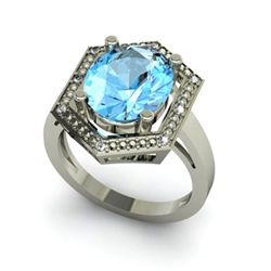 Genuine 6.08 ctw Topaz Diamond Ring Whte/Yllw Gold 10kt