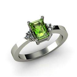 Genuine 0.66 ctw Peridot Diamond Ring 14k