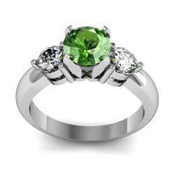 Genuine 1.45 ctw Green Tourmaline Diamond Ring 14kt