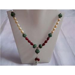 280.0 ctw Emerald Ruby Pearl Necklace .925 Sterling