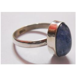NATURAL 19.95 CTW TANZANITE OVAL RING .925 STERLING SIL