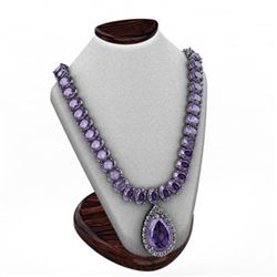 Tanzanite 55.06 ctw & Diamond Necklace 14kt W/Y 29G