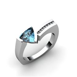 Genuine 0.83 ctw Aqua Marine Diamond Ring 14k