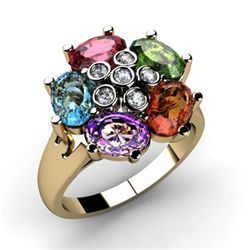 Genuine 2.85 ctw 14k Multi-Color Gemstone Diamond Ring