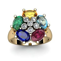 Genuine 2.92 ctw 14k Multi-Color Gemstone Diamond Ring