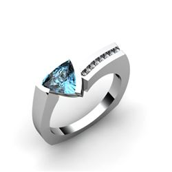 Genuine 0.83 ctw Aqua Marine Diamond Ring 10k